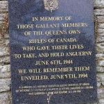 Anguerny, plaque Queen's Own Rifles of Canada