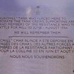 Baron-sur-Odon, plaque char Churchill