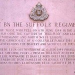 Colleville-Montgomery, plaque 1st Battalion The Suffolk Regiment