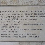 Villers-Bocage, plaque de la Reconstruction