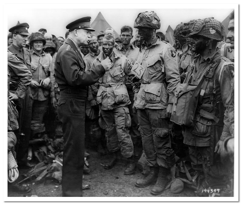 General Eisenhower speaks to paratroopers before D-Day