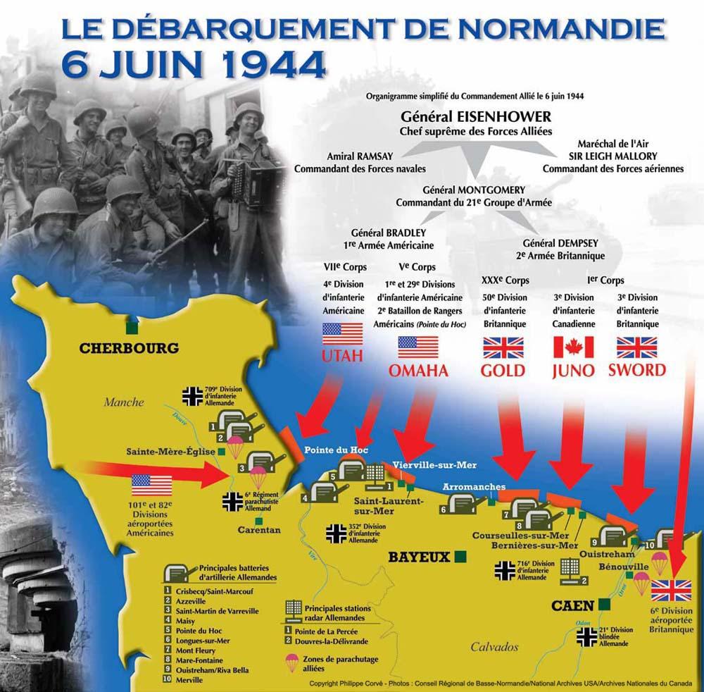 carte plages du débarquement 1944 la bataille de Normandie, la mémoire | Carte des plages du