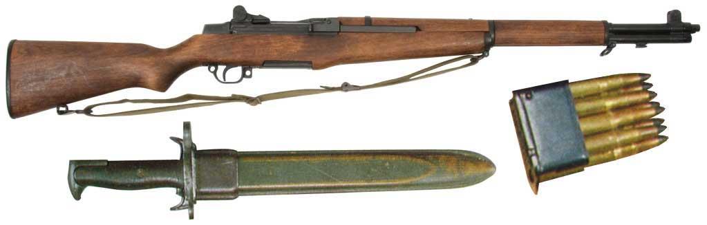 Fusil automatique Garand avec baïonnette et clip de 8 cartouches