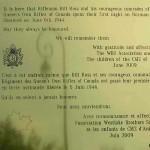 Anguerny, plaque Rifleman Bill Ross