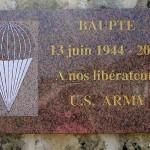 Baupte, plaque de la Libération