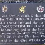 Cheux, plaque 43rd Infantry Division