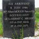 Colombières, stèle Lieutenant Kermit Miller