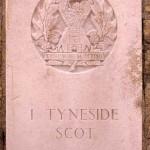 Fontenay-le-Pesnel, plaque 1st Battalion Tyneside Scottish