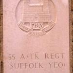 Fontenay-le-Pesnel, plaque 55th Anti Tank Regiment Suffolk Yeomanry
