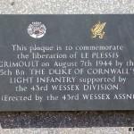 Le Plessis-Grimoult, stèle The Duke of Cornwall LI et 43rd Infantry Division
