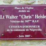 Négreville, plaque Lieutenant Walter Heisler