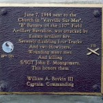 Vierville-sur-Mer, plaque 110th Field Artillery Battalion