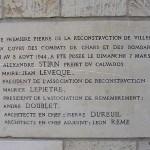 Villers-Bocage, plaque de la Reconstruction