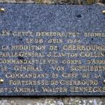 Yvetot-Bocage, plaque de la Reddition de Cherbourg
