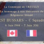 Creully, plaque First Hussars