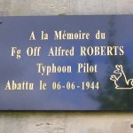 Frénouville, plaque Flying Officer Alfred Roberts
