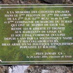 Livaie, plaque 2e DB