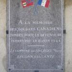 Sainte-Croix-sur-Mer, plaque soldats canadiens
