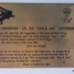 Ranville, Mémorial Pegasus, plaque Corporal Tappenden