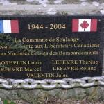Soulangy, plaque libérateurs canadiens & victimes civiles