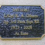 Troarn Bures-sur-Dives, plaque Lance Corporal Gibson