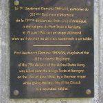 Yvetot-Bocage, plaque 1st Lieutenant Ternan